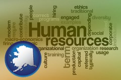 alaska map icon and human resources concepts