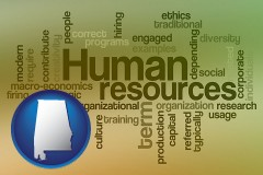 alabama map icon and human resources concepts