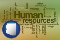 arizona map icon and human resources concepts