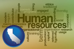 california map icon and human resources concepts