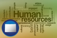 colorado map icon and human resources concepts