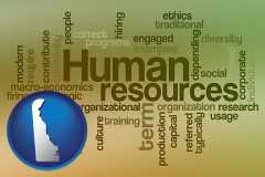 delaware map icon and human resources concepts