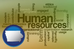 iowa map icon and human resources concepts