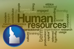 idaho map icon and human resources concepts