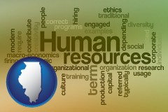illinois map icon and human resources concepts