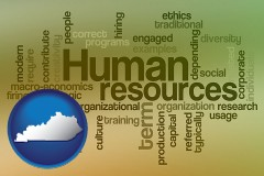 kentucky map icon and human resources concepts