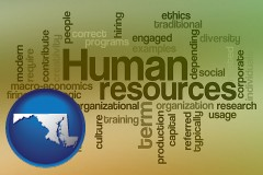 maryland map icon and human resources concepts