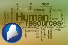 maine map icon and human resources concepts