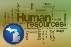michigan map icon and human resources concepts
