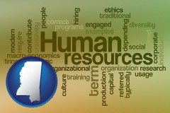 mississippi map icon and human resources concepts