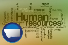 montana map icon and human resources concepts