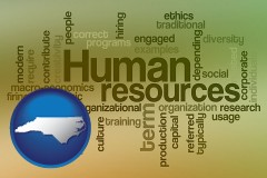 north-carolina map icon and human resources concepts