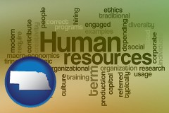 nebraska map icon and human resources concepts