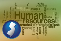 new-jersey map icon and human resources concepts