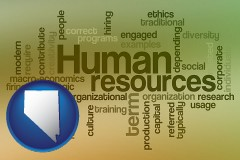 nevada map icon and human resources concepts