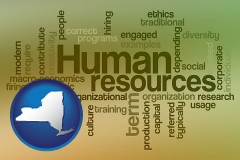 new-york map icon and human resources concepts