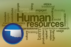 oklahoma map icon and human resources concepts