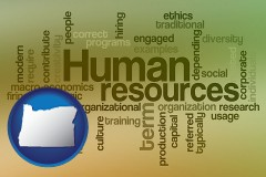 oregon map icon and human resources concepts
