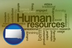 south-dakota map icon and human resources concepts