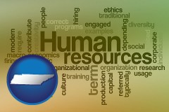 tennessee map icon and human resources concepts