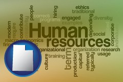 utah map icon and human resources concepts