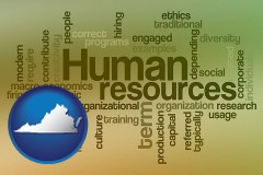 virginia map icon and human resources concepts