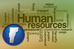 vermont map icon and human resources concepts