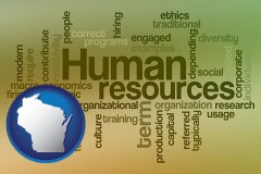 wisconsin map icon and human resources concepts