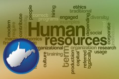 west-virginia map icon and human resources concepts