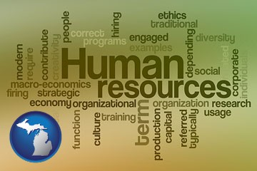 human resources concepts - with Michigan icon