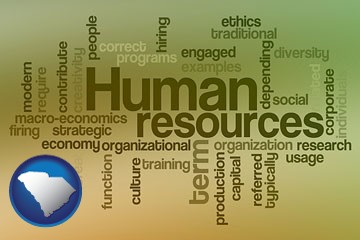human resources concepts - with South Carolina icon